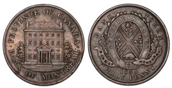 CANADA. BANK OF MONTREAL TOKEN. CU HALF PENNY 1844. XF+ Country: Canada Token: Bank of Montreal Denomination: Half penny Composition: Cu Weight: 9.2 gm Date: 1844 Grade: XF+