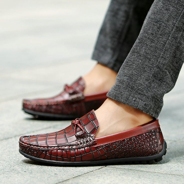 Mocasines Hombre Loafers For Men Leather Driving Shoes Party Moccasin Size 38 to 43 Color Blue Green Wine Red
