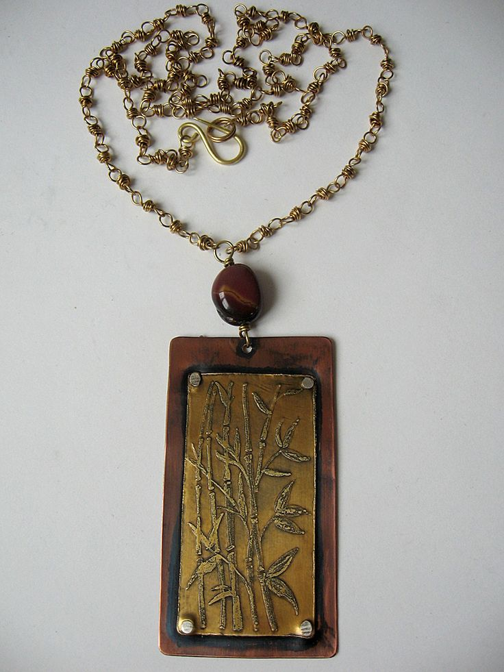 Brass and copper necklace, bamboo designed with etching tecnique