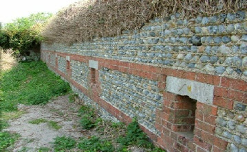 Littlehampton Fort - close up of the Carnot wall - the first to be built in Britain.
