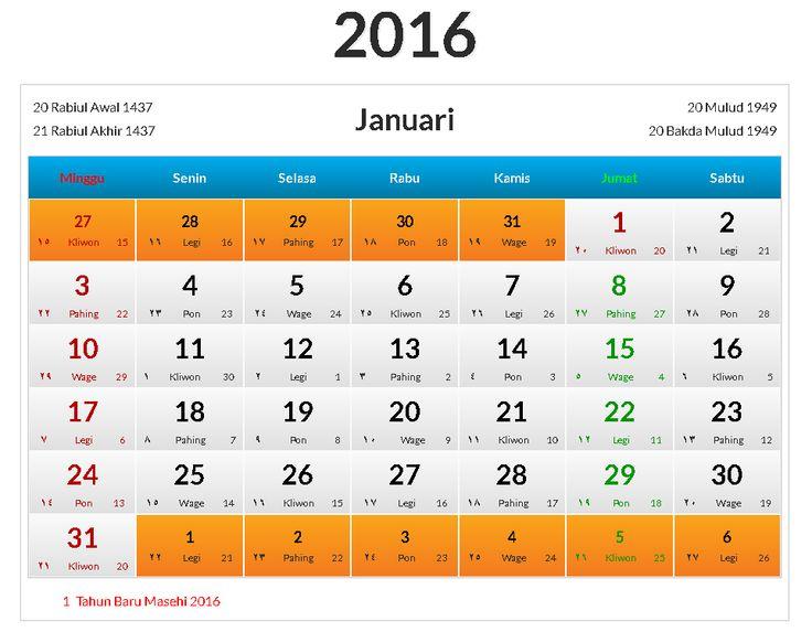 Kalender Indonesia Januari 2016