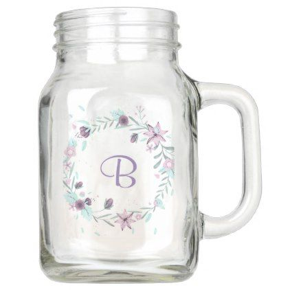 #Purple and Blue Floral Wreath Mason Jar - #drinkware #cool #special