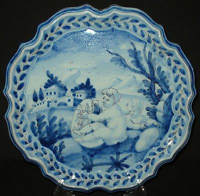 ANTIQUE-MAJOLICA-CHARGER-PLATE-CANTAGALLI-ITALIAN-POTTERY-PUTTI-B-SIGNED