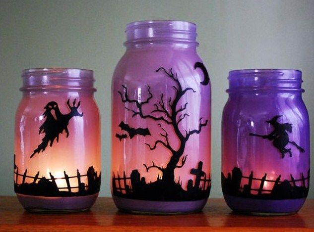 Frascos decorados para Halloween