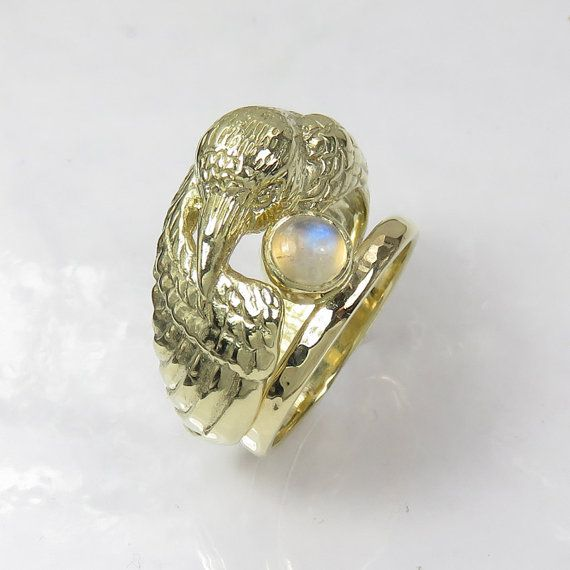 gold raven ring with moonstone pagan wedding ring double ring engagement and wedding ring set bird ring original wedding ring - Pagan Wedding Rings