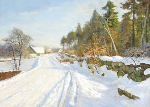 Harald Julius Niels Pryn (1891-1968): A snow covered road, Hösterköb, Denmark