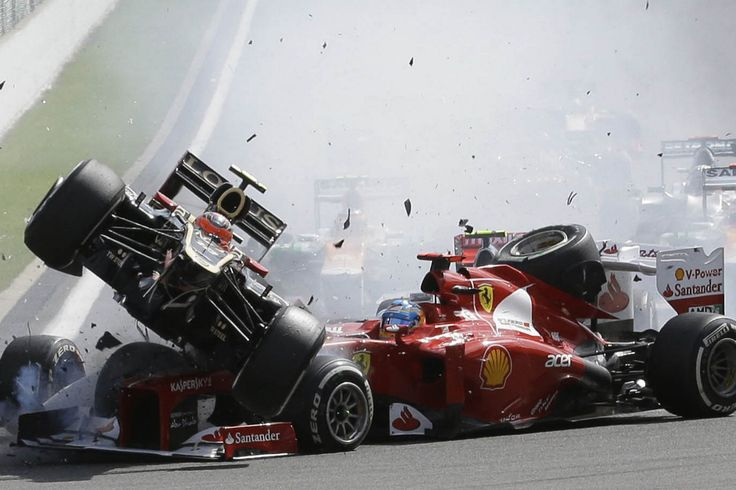 Lotus' Romain Grosjean & McLaren Mercedes' Lewis Hamilton crash @ Spa (2012)