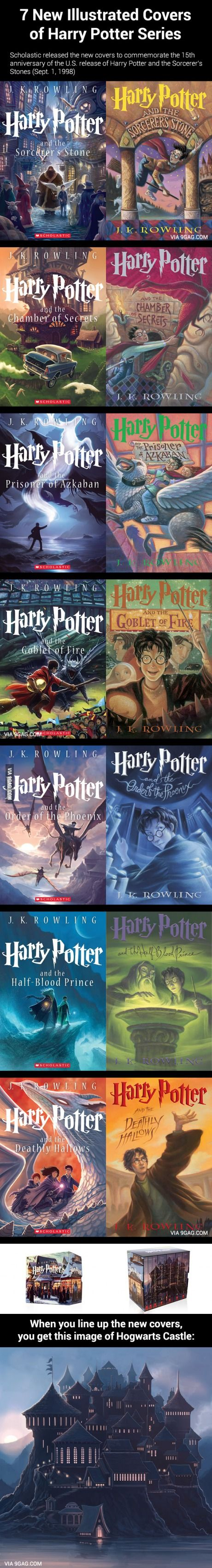 7 New Illustrated Covers of Harry Potter Series.