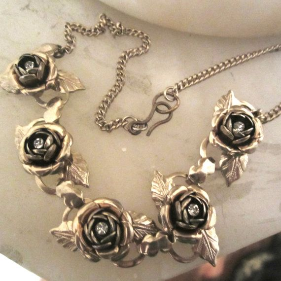 Use as model  Art Deco Golden Rose Chain Necklace with Crystal by JewelSpeak, $65.00