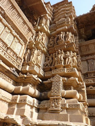 The intricate carvings including Karma Sutra at Western Temples Khajuraho