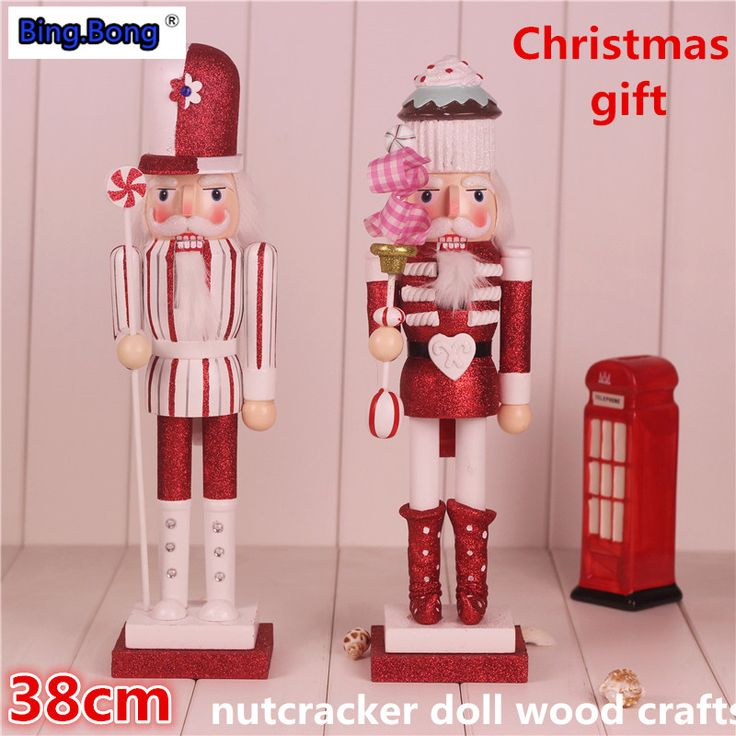 Christmas gift nutcracker doll wood crafts 38cm Tv cabinet decoration home decorations wedding gift pink love wooden puppet Cake -- Be sure to check out this awesome product.