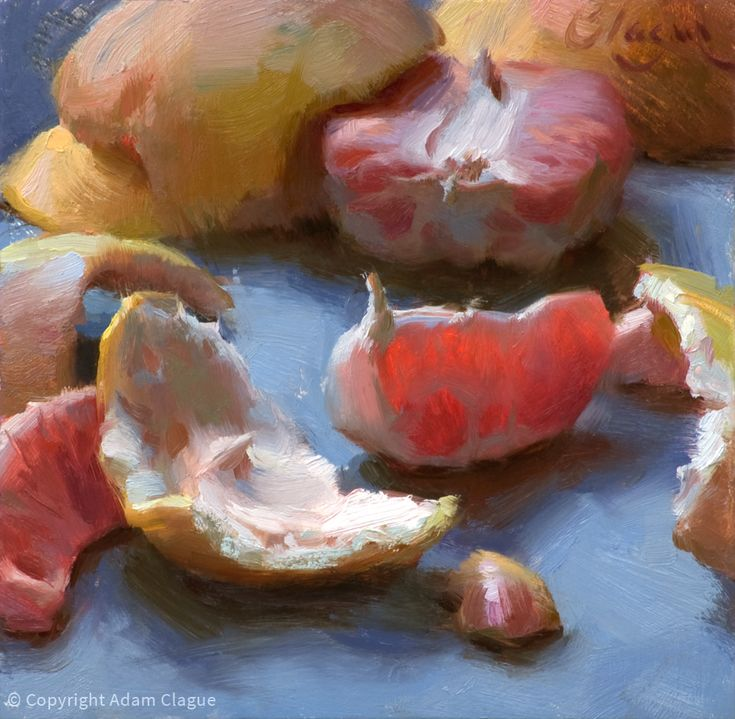 Glowing Grapefruit by Adam Clague 6×6″ Oil as featured on artfoodhome.com