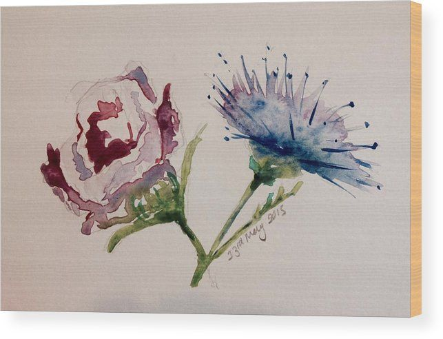 Rose Thistle Flower Watercolour Wood Print featuring the painting Rose And  Thistle by Louise Fletcher