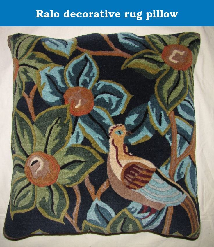Ralo decorative rug pillow. Bird with fruits, navy blue, Unique rug pillow used meditation or decoration, 100% Tibetan wool, organic cotton backing brass fasteners, removable down feather pillow insert.
