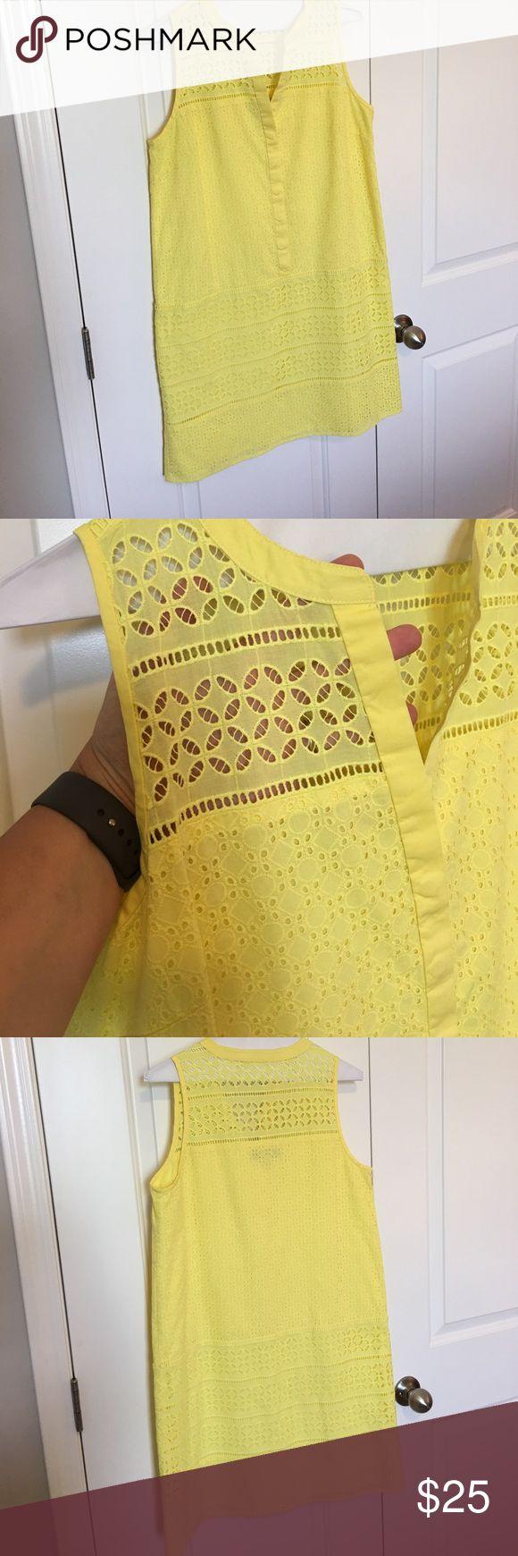 LOFT yellow eyelet shift sundress sz 8 LOFT yellow eyelet shift sundress. See through eyelet in front and back at shoulders. Lined. Hidden button front. Sz 8 LOFT Dresses