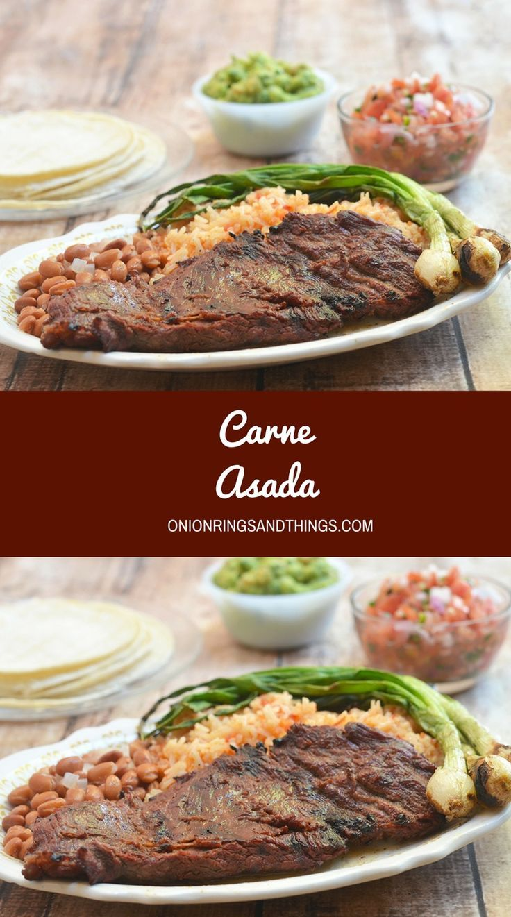 Authentic Mexican Carne Asada marinated in citrus juices, beer, and spices, and then grilled over hot coals for a wonderful charred flavor. This delicious Mexican entree is wonderful with rice and beans and equally amazing in burritos, tacos, quesadillas, and nachos.