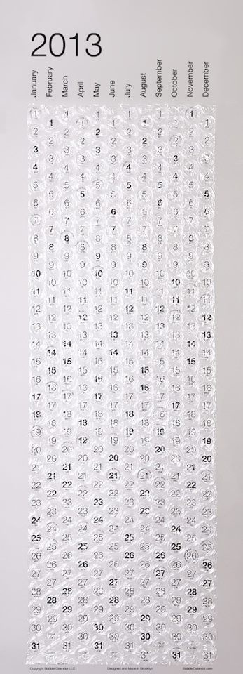 Bubble wrap calendar. What a great idea! You can count down to something by popping the days!