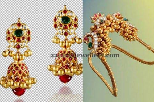 Jhumkas and Gold Beads Vanki