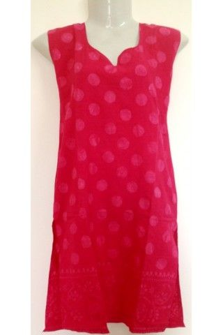 #CottonKurti - #Polka Dot Printed Dark #Pink