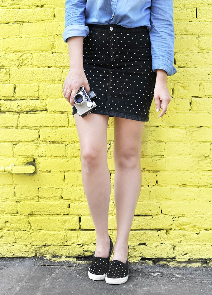 MY DIY   Dotted Denim Skirt   I SPY DIY