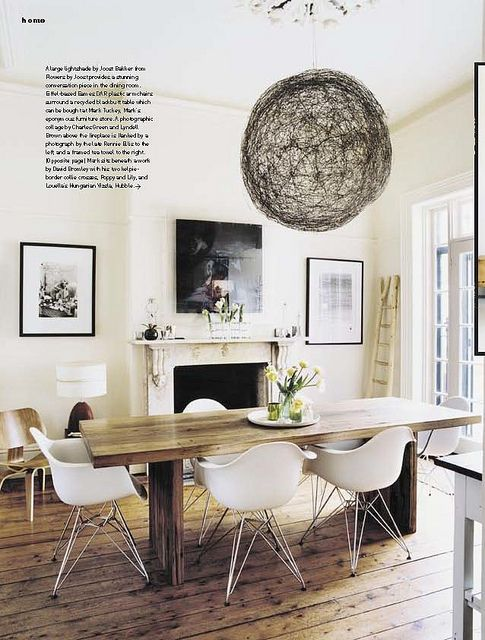 Luella Potter / Mark Tuckey via Inside Out {eclectic white rustic modern dining room} by recent settlers, via Flickr