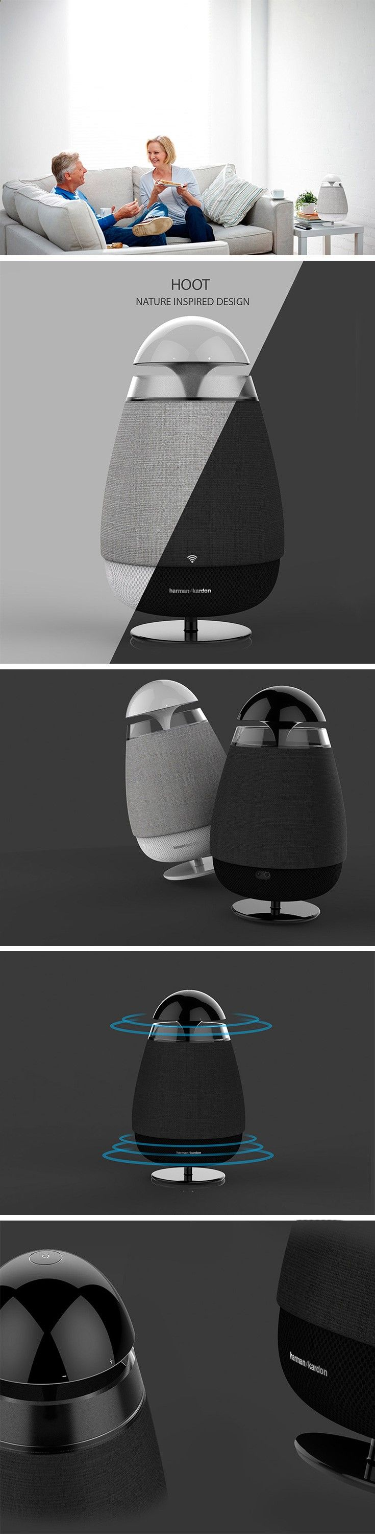 Introducing, HOOT! The owl-inspired, omnidirectional audio system that's as adorable as it is functional! This tabletop speaker can be controlled with its intuitive top that spins around just like an owl's head. Just push to turn off and on or give it a twist to control the volume OR control it wirelessly from your smart device.