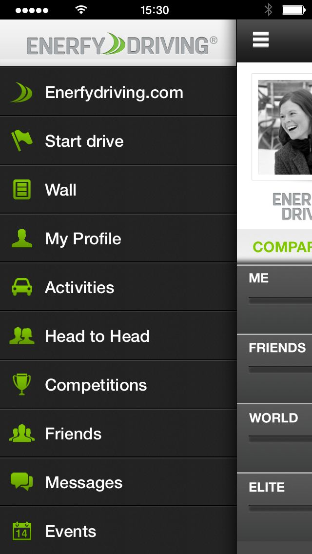 Menu in EnerfyDriving. Enerfy Driving http://www.enerfydriving.com. #enerfydriving #enerfy