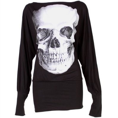 Ladies Batwing Top Long Sleeved Tunic Jumper with Skull Print - Black £9.99