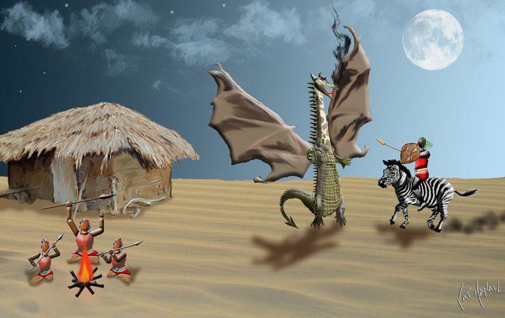 Surrealism-Masai père dit à ses enfants la léyende de saint georges et le dragon