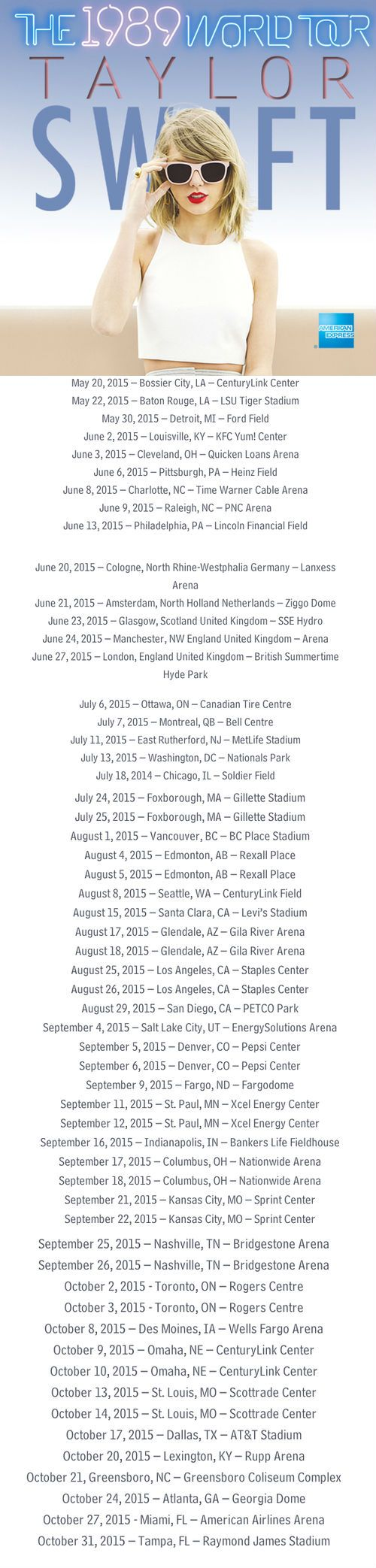 1989 TOUR DATES!!!!!!!!!!! I CAN'T BREATHE!!!!!! The closest she's getting to me is Dallas TX!