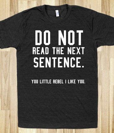 Do not read the next sentence t shirt tee/black