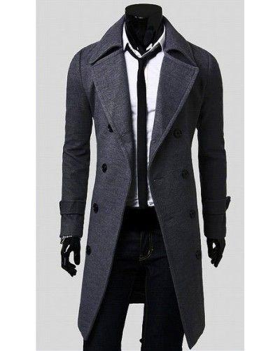 Manteau long pour homme avec fermeture à bouton et col large