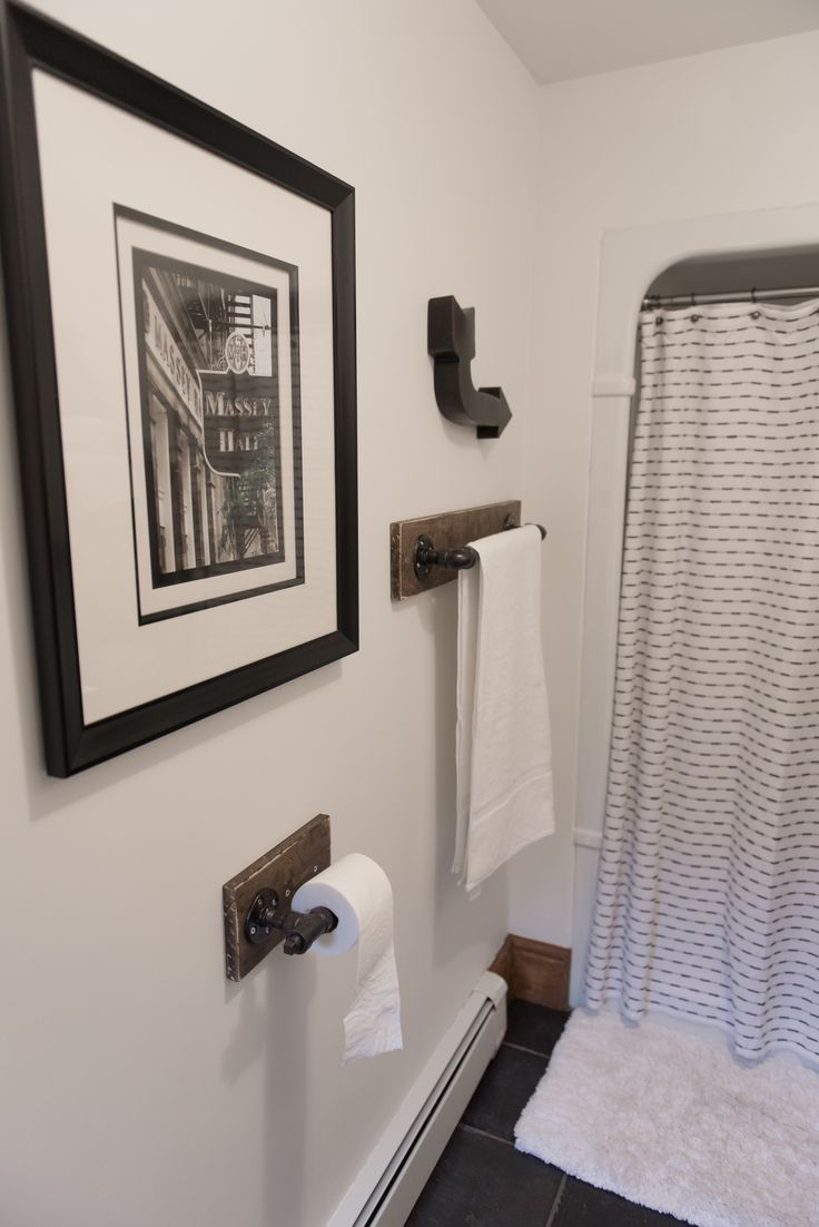 Add a rustic towel bar & toliet paper holder to your bathroom for an industrial look.