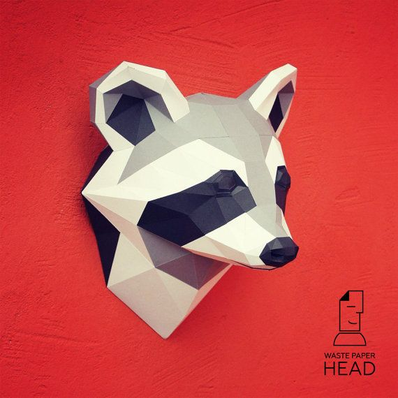 You can make your own raccoon head for wall decoration!  Printable DIY template…