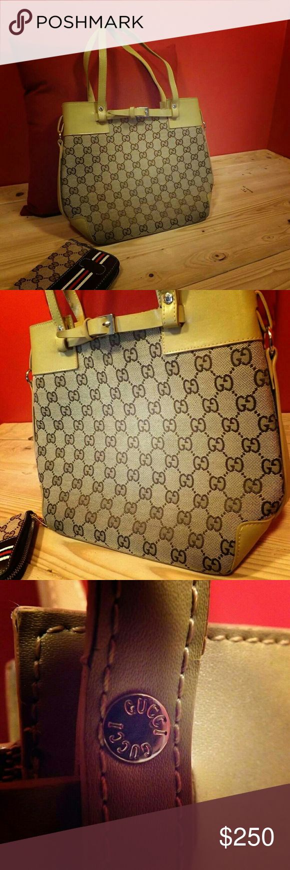 """Gucci shoulder purse Gucci purses are one of the only brands that have a common phrase based on it! """"Its Gucci"""", meaning its good! Well that's just what this is! This purse is Gucci! Small flaw up on the straps is the reason this purse is so cheap! We accept offers, always!  ✅SPECIAL OFFER: Bundling this purse with our Gucci wallet will give you a 25% discount! ✅✅ No other bundles apply!!! Gucci Bags Shoulder Bags"""