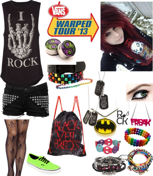 """Warped Tour"" by mydeadlydreams ❤ liked on Polyvore"