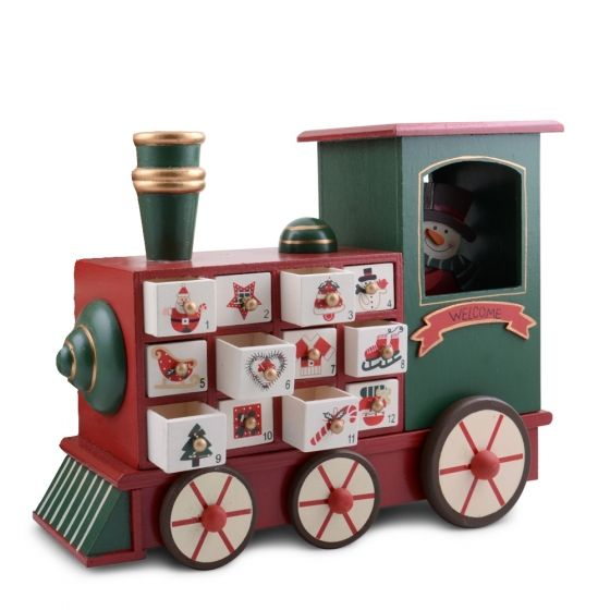 Wooden Snowman Amp Train Advent Calendar With Numbered