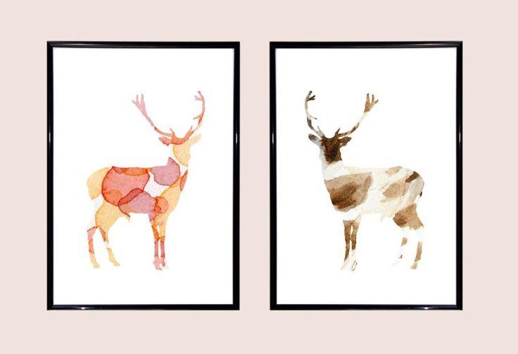 Deer Watercolor illustrations. Set of 2 Art Prints. Home decoration. Animal Painting. Deer Painting. Orange Pink Brown.