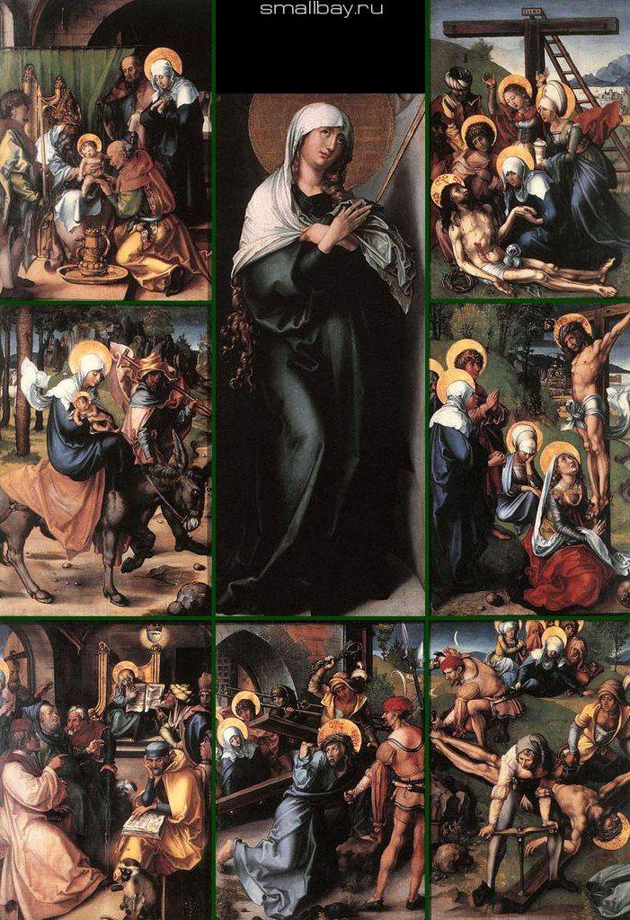 Альбрехт Дюрер (1471–1528 Германия) Семь печалей девы или Семь скорбей Марии. 1494 — 1497 Картинная галерея, Дрезден.  Работа Дюрера «Семь печалей девы» или «Семь скорбей Марии», композиционно состоит из семи картин: «Обрезание Христа», левая часть, верх; «Бегство в Египет», левая часть, центр; «Двенадцатилетний Иисус в храме», левая часть, низ; «Скорбящая мать», центральная часть, верх; «Несение креста», центральная часть, низ; «Прибивание Христа к кресту», правая часть, низ; «Христос на…