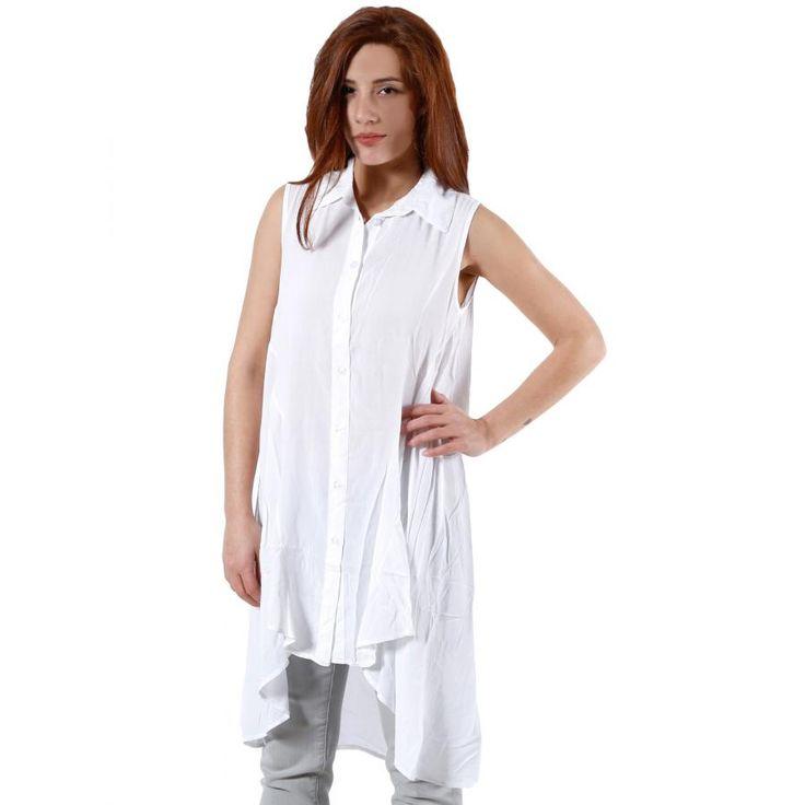 ALE Αμάνικη ασύμμετρη λευκή πουκαμίσα