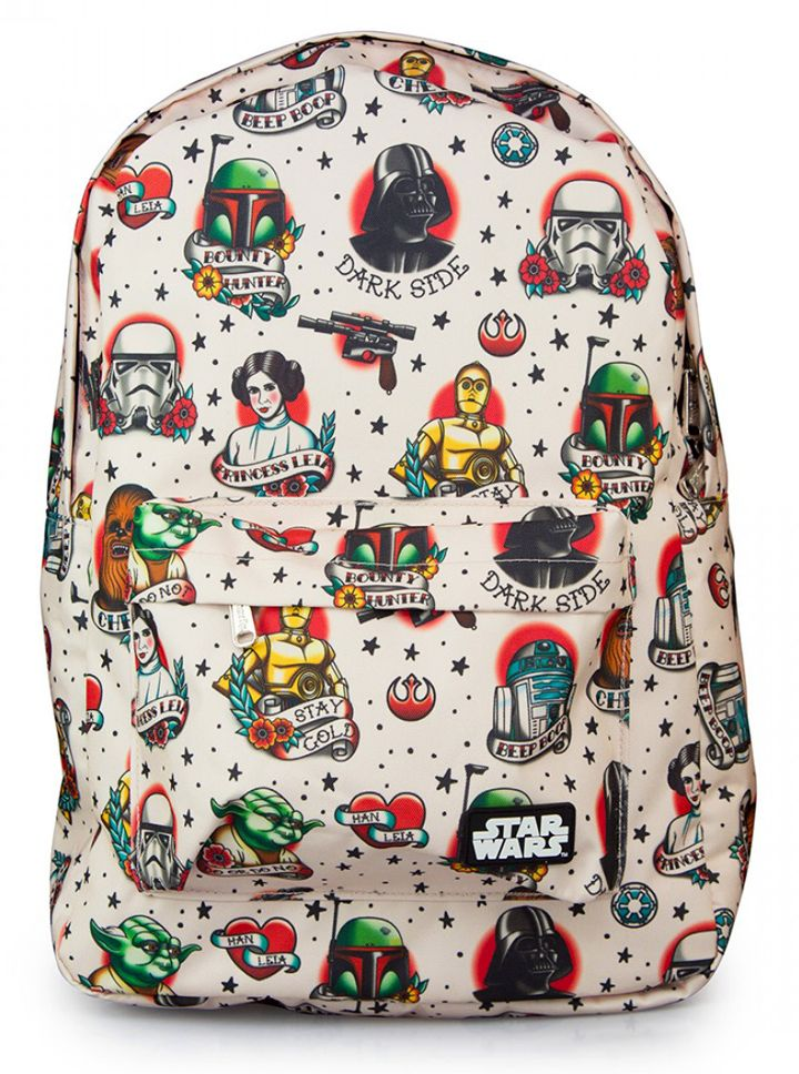 """""""Star Wars Tattoo Flash"""" Backpack by Loungefly (Biege)"""