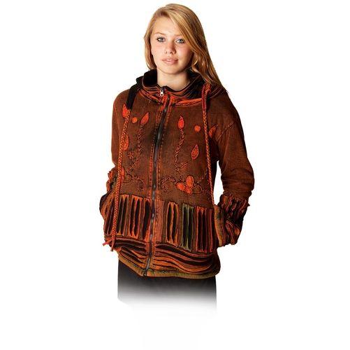 Winter Nepal-Jacke,Ethno-Jacke mit Kapuze, dunkelrot, Unikat