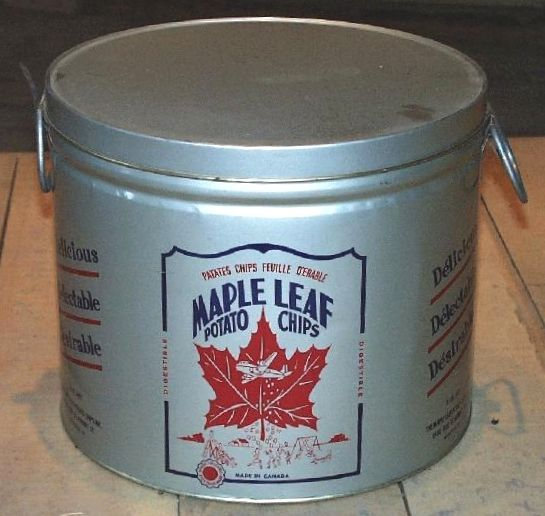 1950's can of Maple Leaf Potato Chips 1993.0165 #Canada ...