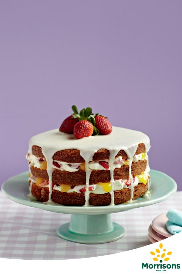 Lemon and Strawberry Sponge Cake  Ingredients  250g butter, softened 250g caster sugar 4 eggs, beaten 250g self-raising flour 4 tbsp milk 300ml double cream 225g strawberries, chopped 10 tbsp lemon curd 200g icing sugar, sieved 1 few drops yellow food colouring