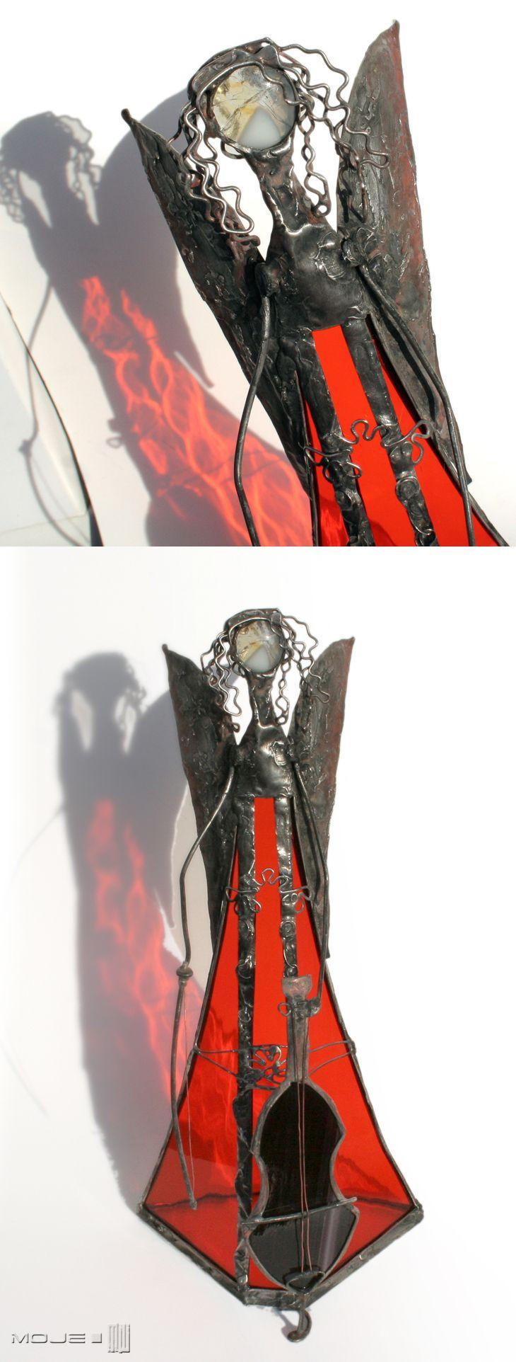 Bialode. Anioł z wiolonczelą / Angel with cello. Witraż Tiffany / Tiffany Stained Glass. Dekoracje do domu. Glass Angel. Moje MW