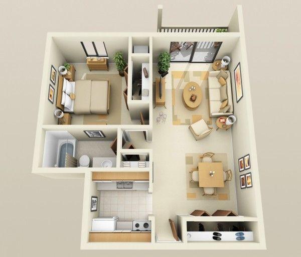 50 plans en 3d d appartement avec 1 chambres small. Black Bedroom Furniture Sets. Home Design Ideas