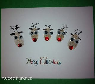 Two Early Birds: Reindeer Family Card
