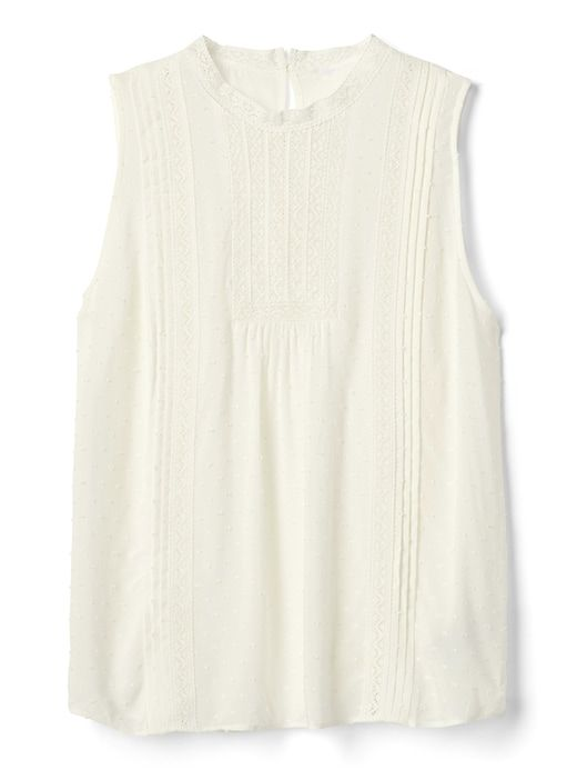 1ee913c48291e9 Gap Womens Sleeveless Victorian Lace Blouse In Swiss Dot New Off White