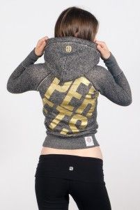 Shop Ladies Tops | Joshua Perets, gold and grey Perets hoodie