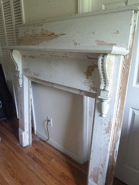 Victorian Chippy Shabby Chic Painted Vintage Antique Fireplace Mantel Mantle
